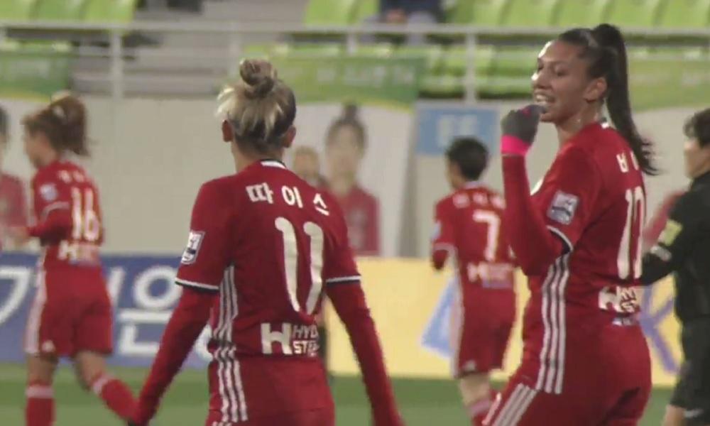 Com gol de Thaísinha, Red Angels vence no Campeonato Sul-Coreano