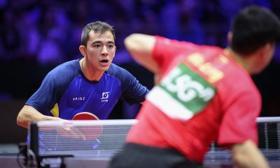 Hugo Calderano em ação pelo Mundial Individual de tênis de mesa 2019