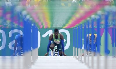 Gabriel Constantino se prepara para a prova dos 110 m com barreiras nos Jogos Pan-Americanos de Lima 2019