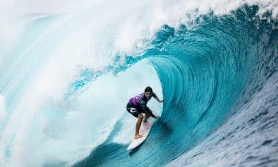 Gabriel Medina em Teahupoo 2019. Belo tubo surfe masculino jogos olímpicos tóquio 2020