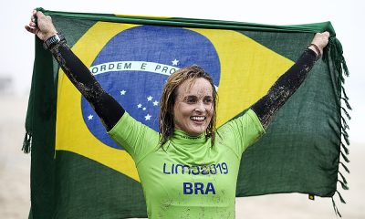 Lena Ribeiro. do surfe SUP Race, no Pan-Americano de Lima