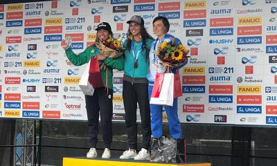 Ana Sátila no pódio da etapa de Praga da Copa do Mundo de Canoagem Slalom