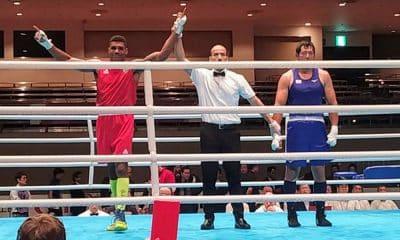 Abner Teixeiria, do boxe, no evento teste para Tóquio 2020