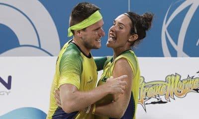 André Baran e Rafaella Miller, campeõe das duplas mistas no beach tennis dos Jogos Mundiais da Praia