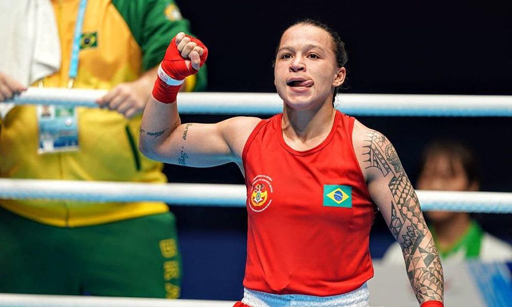 Bia Ferreira, no boxe dos Jogos Mundiais Militares