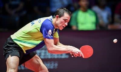 Hugo Calderano bate Koki Niwa, do Japão, pelas quartas de final do Aberto da Áustria de tênis de mesa
