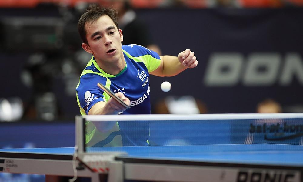 Hugo Calderano no Aberto da Áustria de tênis de mesa