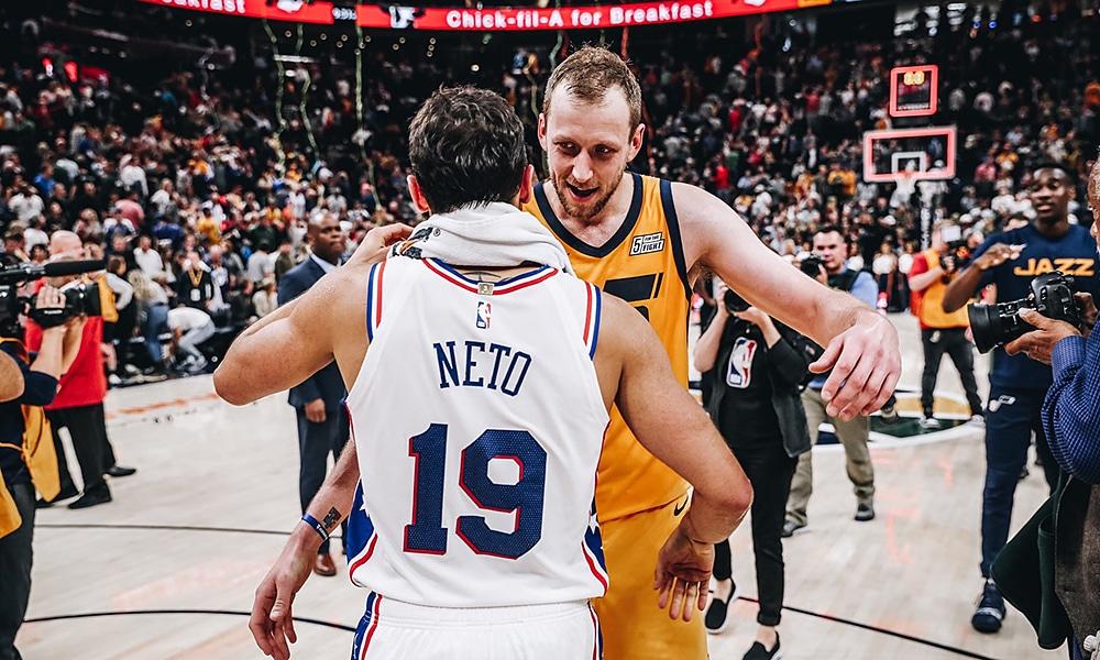 Raulzinho na derrota do Philadelphia 76ers sobre o Jazz na NBA