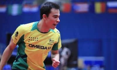 Hugo Calderano comemora na Hungria. Crédito: ITTF.