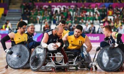 Seleção brasileira de rugby em cadeira de rodas busca vaga em Tóquio. (Foto:Foto: Alexandre Schneider/EXEMPLUS/CPB