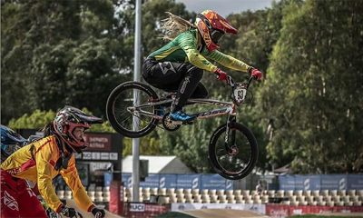 Priscilla Stevaux em treino na etapa de Shepparton da Copa do Mundo de ciclismo BMX