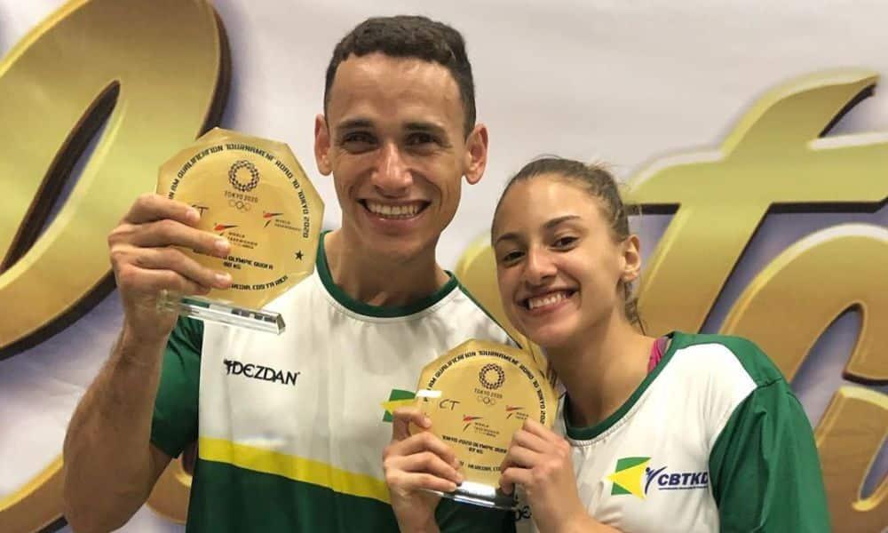 Ícaro Mguel e Milena Titoneli comemoram as vagas olímpicas conquistadas na Costa Rica (Foto: Divulgação/CBTKD)