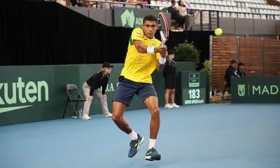 Thiago Monteiro na Copa Davis contra a Austrália em Adelaide