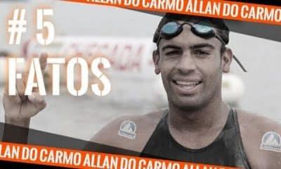 Allan do Carmo da Maratona Aquática após prova, em uma arte do Olimpíada Todo Dia sobre o quadro 5 fatos
