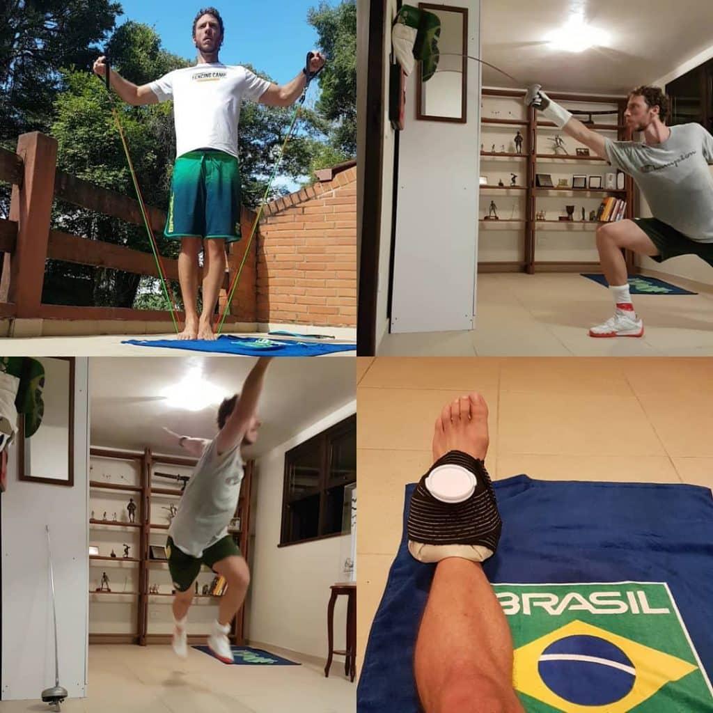 Athos Schwantes, da esgrima, é um dos atletas que mantêm a rotina de treinos em casa (Foto: Reprodução/Instagram)