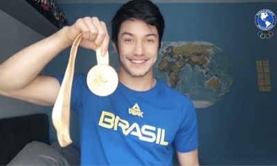 Arthur Nory grava vídeo Panam Sports em homenagem profissionais de saúde