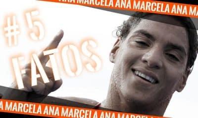 Ana Marcela Cunha, da maratona acquatica, comemora apos prova | arte Caio Poltronieri