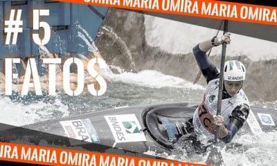 Omira Maria competindo na canoagem slalom. Arte de Caio Poltronieri para o quadro cinco fatos