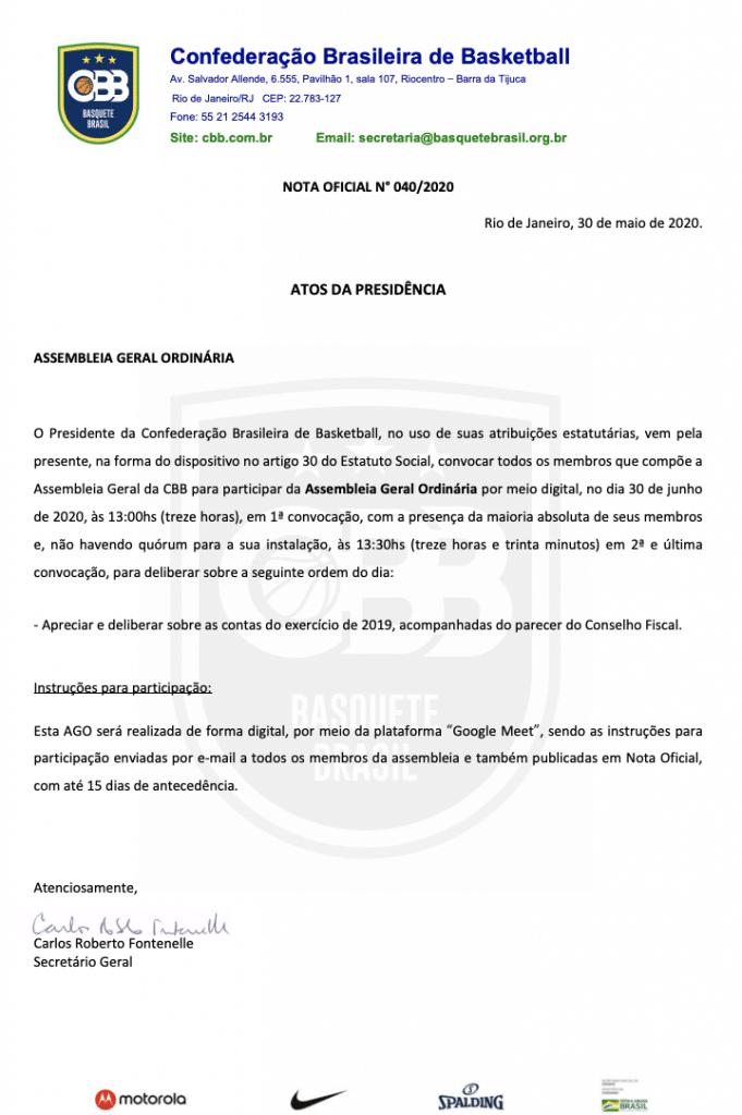 A Assembleia Geral Ordinária (AGO) da  Confederação Brasileira de Basketball (CBB), convocada pelo presidente Guy Peixoto, será online, no dia 30 de junho
