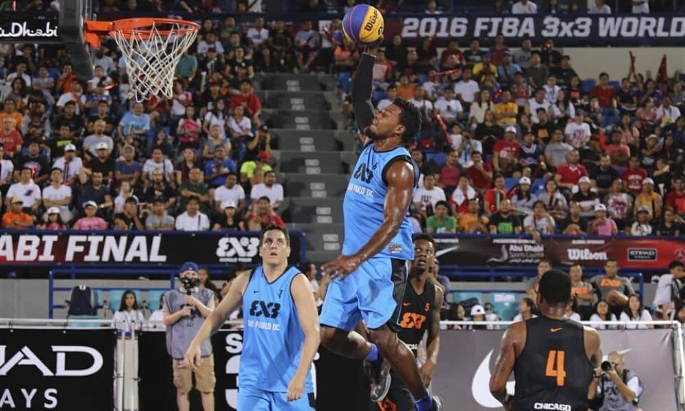 Leandro em ação pelo São Paulo D.C., equipe brasileira que o lançou no cenário internacional do basquete 3x3
