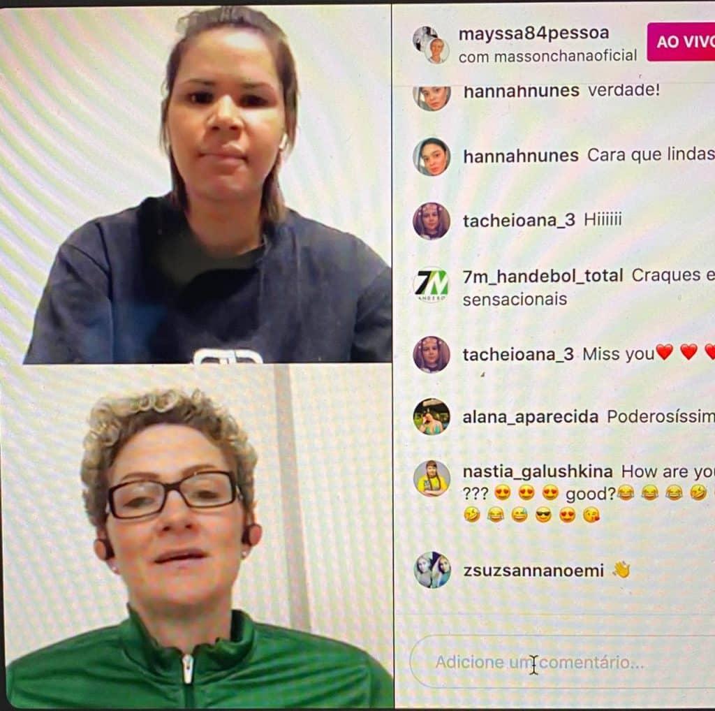 Em live com goleira Chana Masson, Mayssa Pessoa diz desejar jogar os Jogos Olímpicos de Tóquio por outro país. Rússia é opção