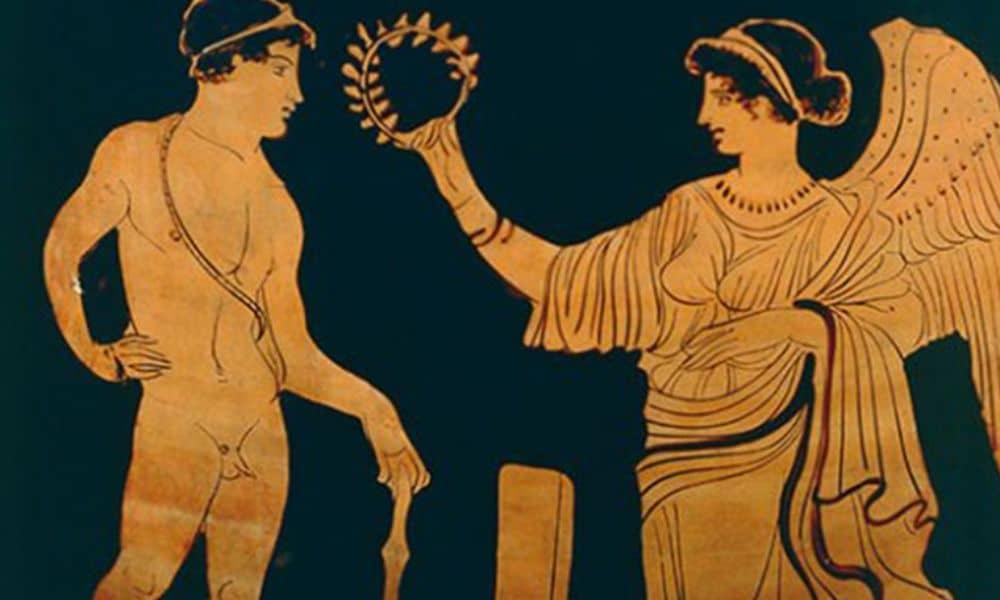 coroa de flores para os campeões dos jogos olímpicos da grécia antiga