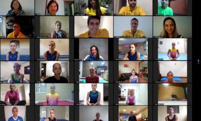 O treino online de ginástica artística organizado pela Confederação Brasileira de Ginástica (CBG) na terça-feira (2) atingiu mais de 1000 pessoas