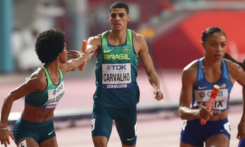 Revezamento 4 x 400 m misto no Mundial de Atletismo de Doha (Wagner do Carmo/CBAt)