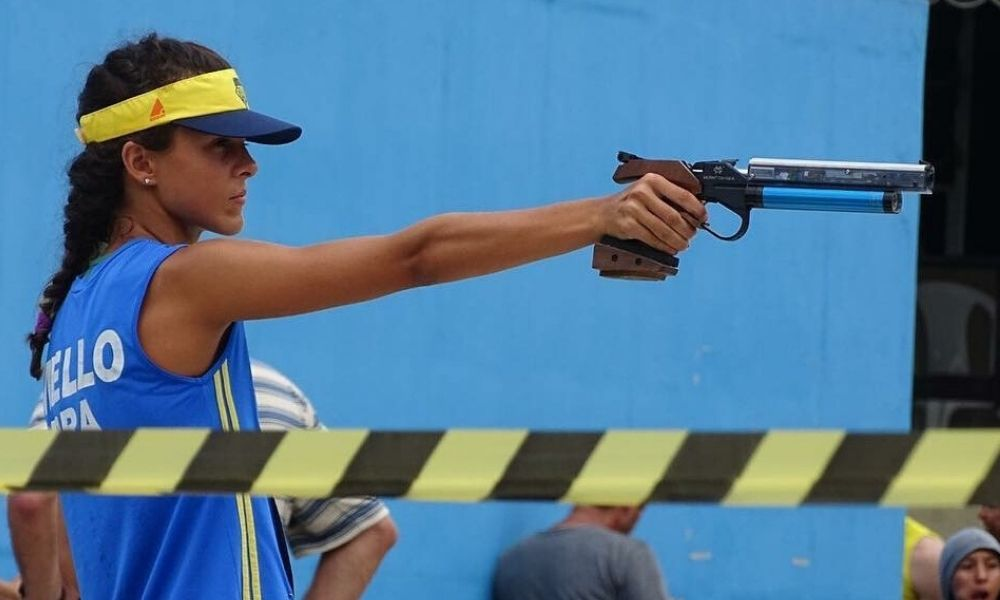 Marcela Mello Pan-Americano de tiro em casa