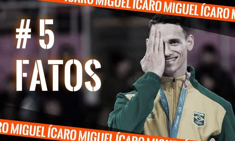 Ícaro Miguel, do taekwondo, na arte do 5 fatos, quadro do Olimpíada Todo Dia