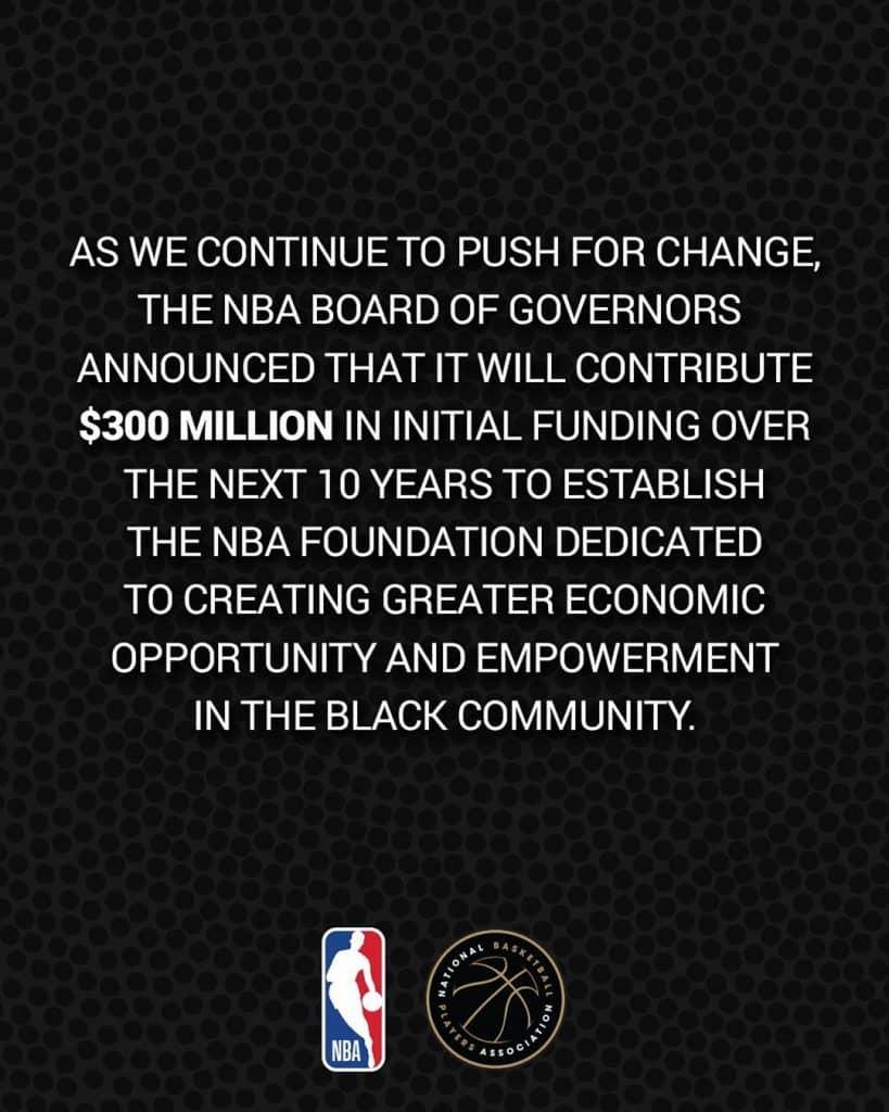 NBA e a associação de jogadores lançaram a primeira fundação dedicada ao apoio para comunidades negras nos EUA e Canadá; valor inicial é de US$ 300 milhões
