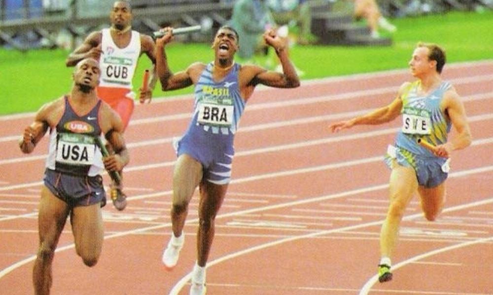Revezamento 4x100 m - Atlanta-1996 - Robson Caetano - Arnaldo de Oliveira - Edson Luciano - André Domingos