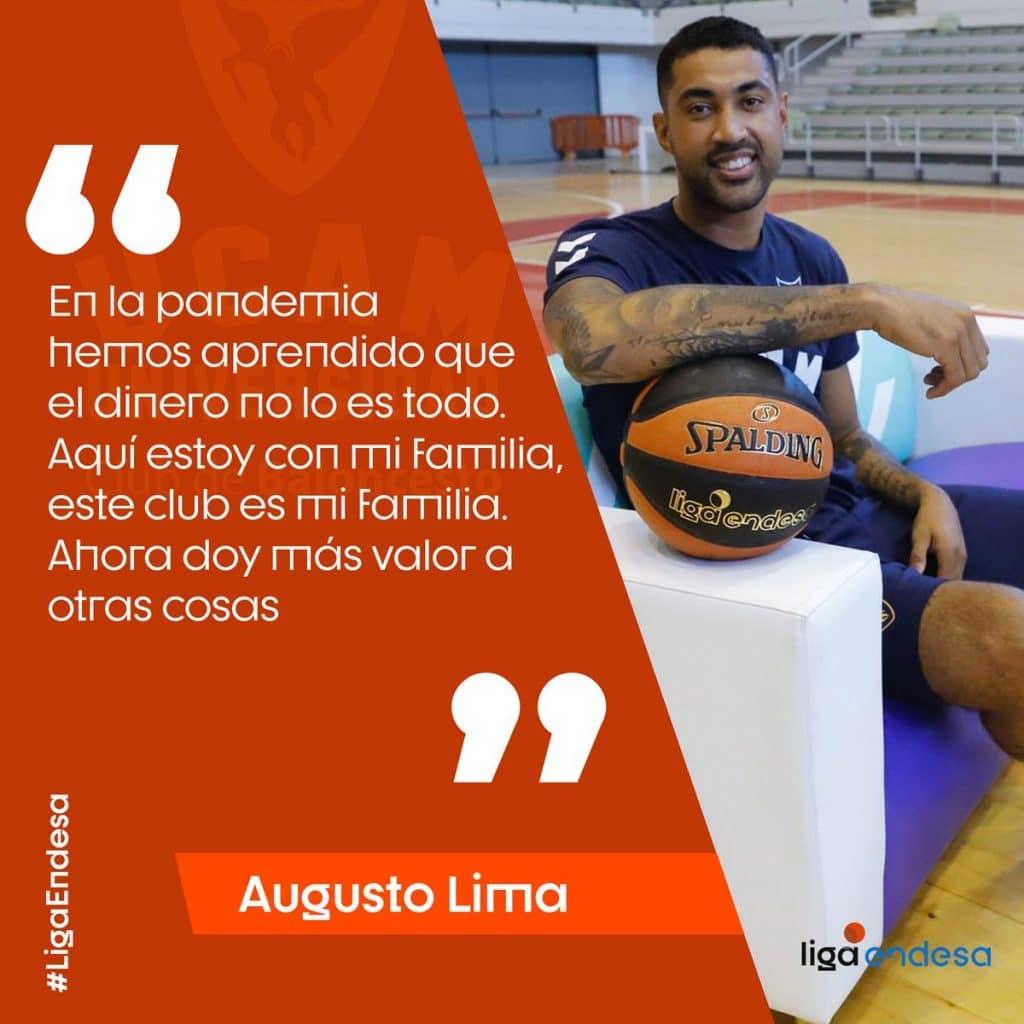 """No primeiro treino com o UCAM Murcia, pivô brasileiro Augusto Lima exalta amor ao clube: """"dinheiro não é tudo. Isso aqui é a minha família"""""""