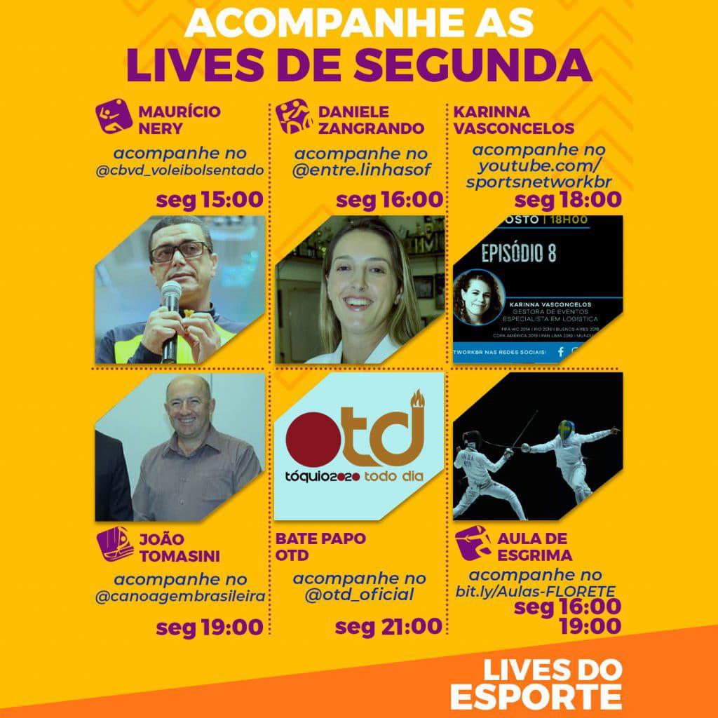Agenda de lives - Segunda, 24 de agosto