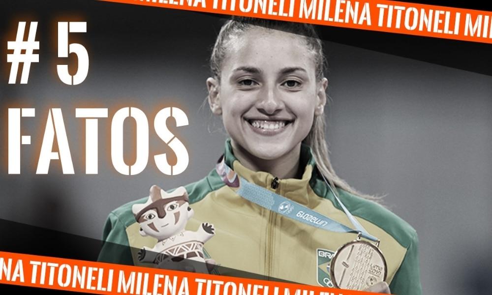 Milena Titoneli, do taekwondo, na arte do 5 fatos, quadro do Olimpíada Todo Dia - curiosidades