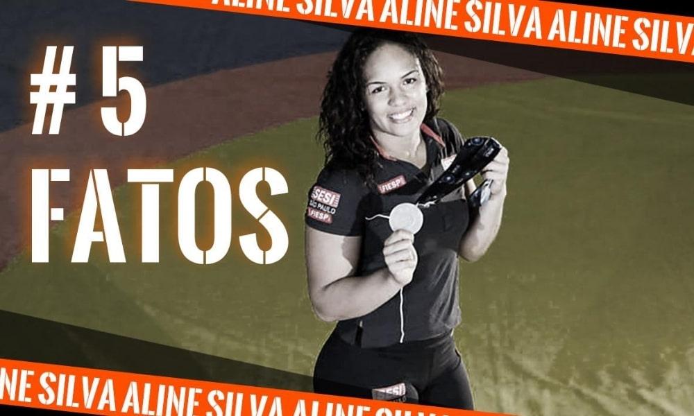 Aline Silva, do wrestling, na arte do 5 fatos, quadro do Olimpíada Todo Dia - curiosidades - 5 fatos