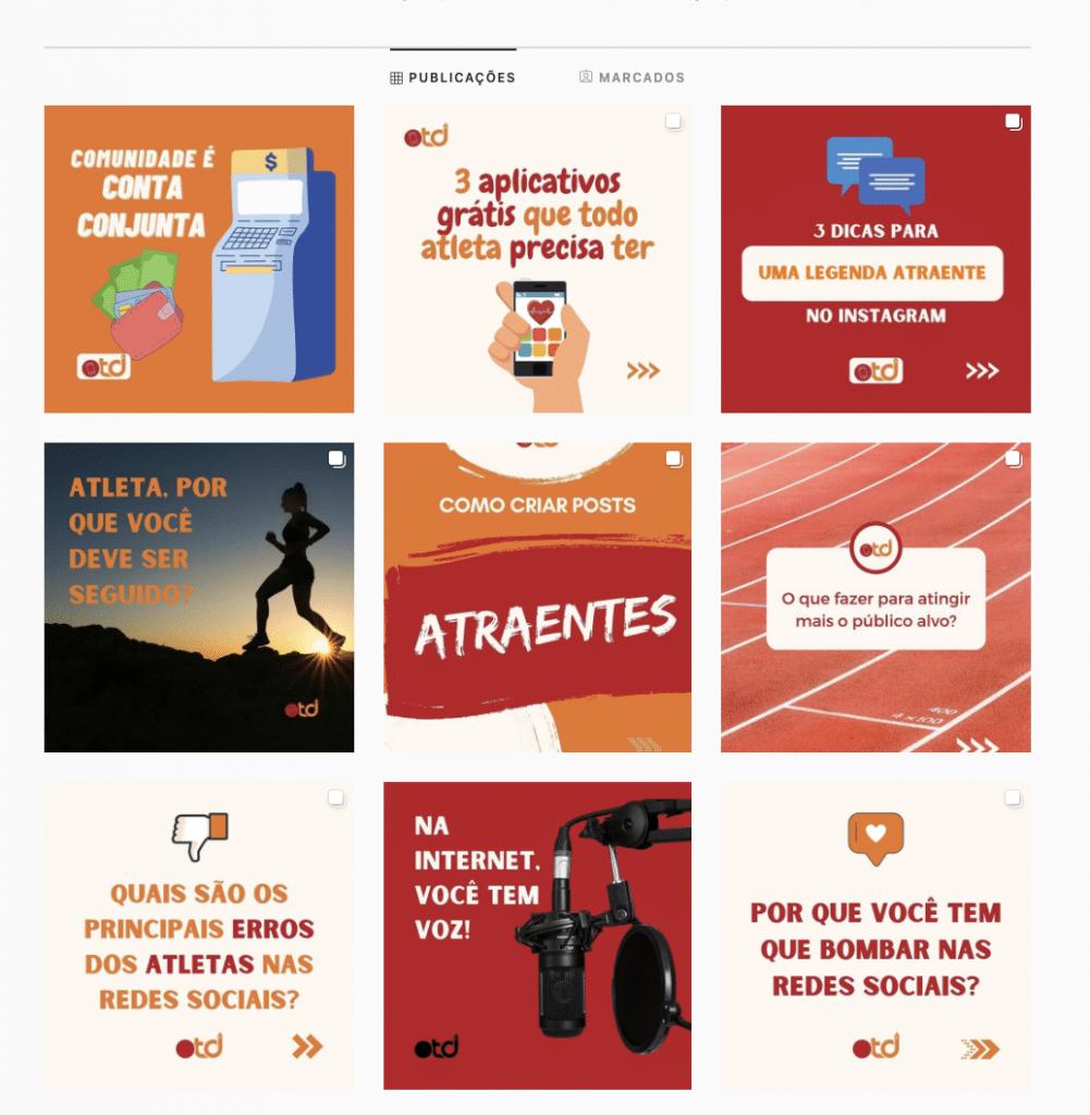 Exemplo de publicações realizadas no OTD Digital; acesse no Instagram @otd_digital - redes sociais para atletas