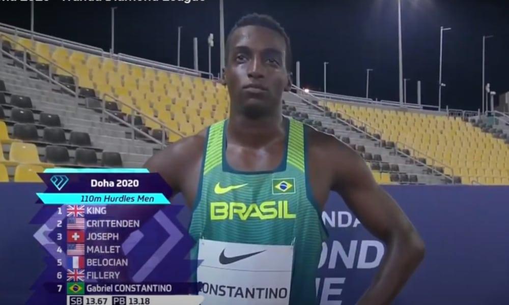 Gabriel Constantino quarto lugar nos 110 m com barreiras na etapa de Doha da Liga Diamante de Atletismo