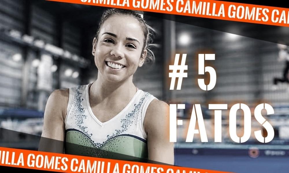 Camilla Gomes, ginástica de trampolim, na arte do 5 fatos, quadro do Olimpíada Todo Dia - curiosidades