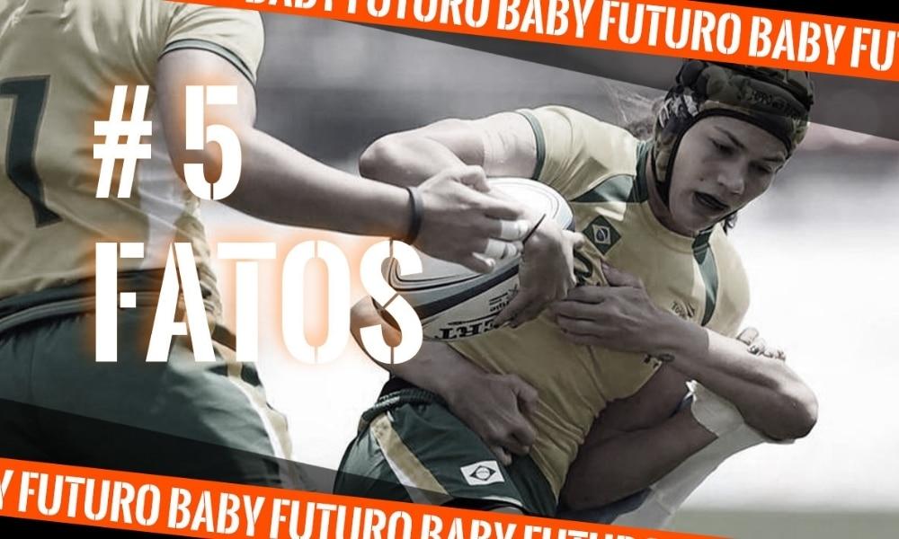 Baby Futuro, do rúgbi sevens, na arte do 5 fatos ou 5 curiosidades, quadro do Olimpíada Todo Dia - 5 fatos