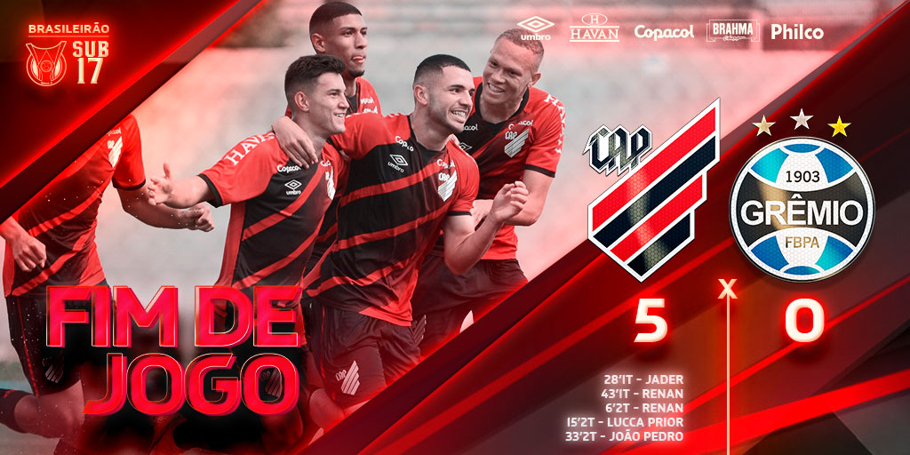 pelas quartas de final do Campeonato Brasileiro Sub-17, o São Paulo venceu o Corinthians nos pênaltis e o Athletico-PR bateu o Grêmio para chegar as semis