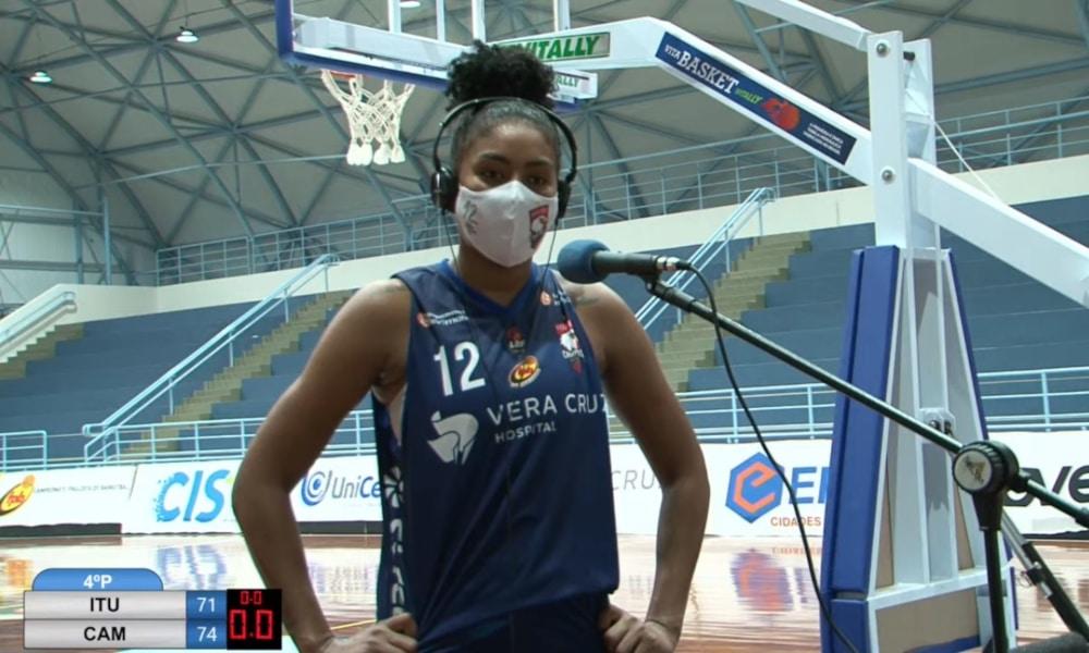 Damiris foi entrevistada após a vitória do Vera Cruz Campinas pelo Paulista de basquete (Reprodução/GCS TV)