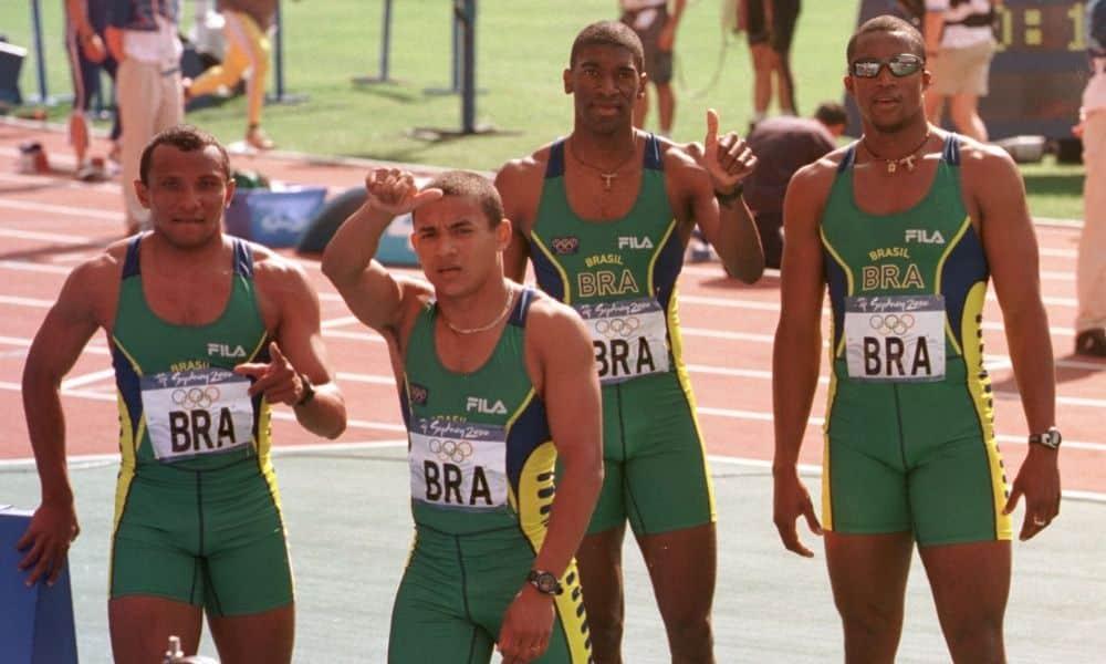 O revezamento 4x100 m do Brasil com Cláudio Roberto