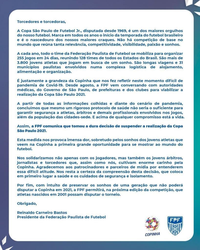 cancelada Copa São Paulo de futebol júnior