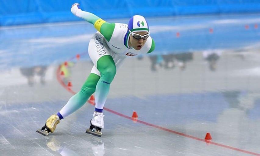 João Victor da Silva compete em prova de patinação de velocidade