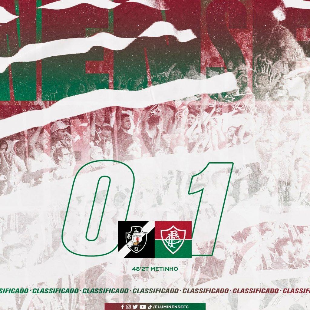 Na partida de volta das quartas de frinal do Campeonato Brasileiro Sub-17, o Fluminense vence o Vasco por 1 a 0 e se classificou para a semifinal do torneio