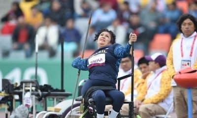 Poliana Sousa faz lançamento de dardo durante Parapan de Lima 2019 prata