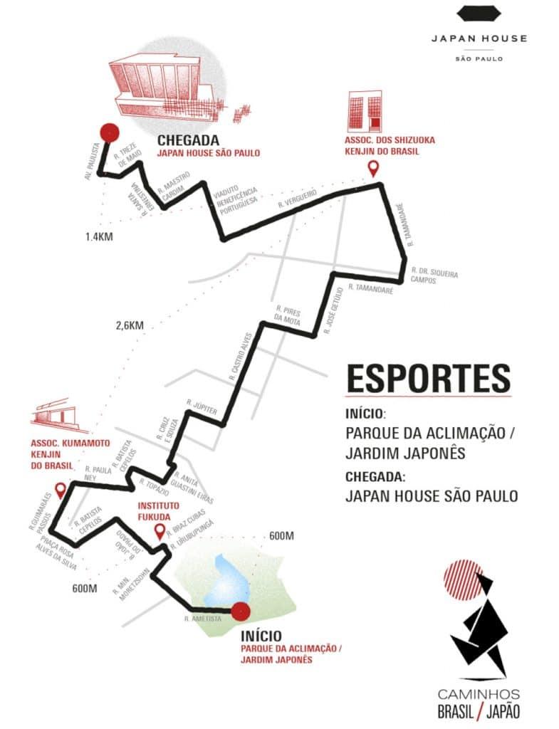 Trajeto da caminhada dos 125 anos do Tratado de Amizade Brasil-Japão (Divulgação)