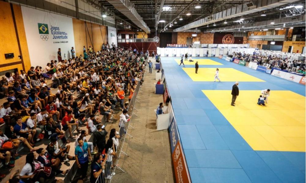Competição de judô nos Jogos Escolares da Juventude de 2019, realizado em Blumenau-SC (William Lucas/Inovafoto/COB)