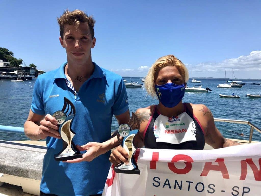 Ana Marcela Cunha Franco Ivo Cassini Franco Cassini Franco Ivo pódio Troféu Brasil maratonas aquáticas salvador